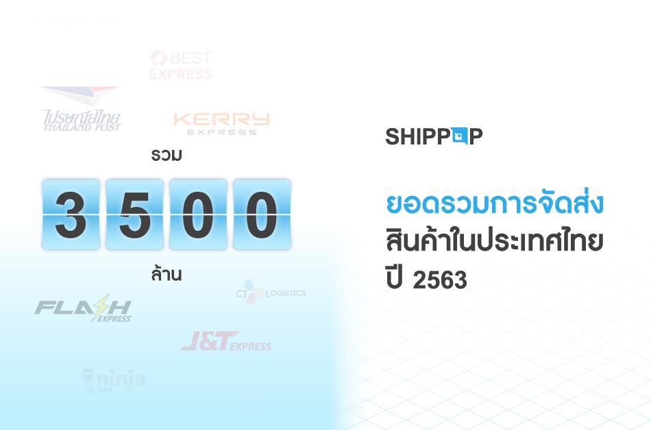 ยอดรวมการจัดส่งสินค้าในประเทศไทย ปี 2563